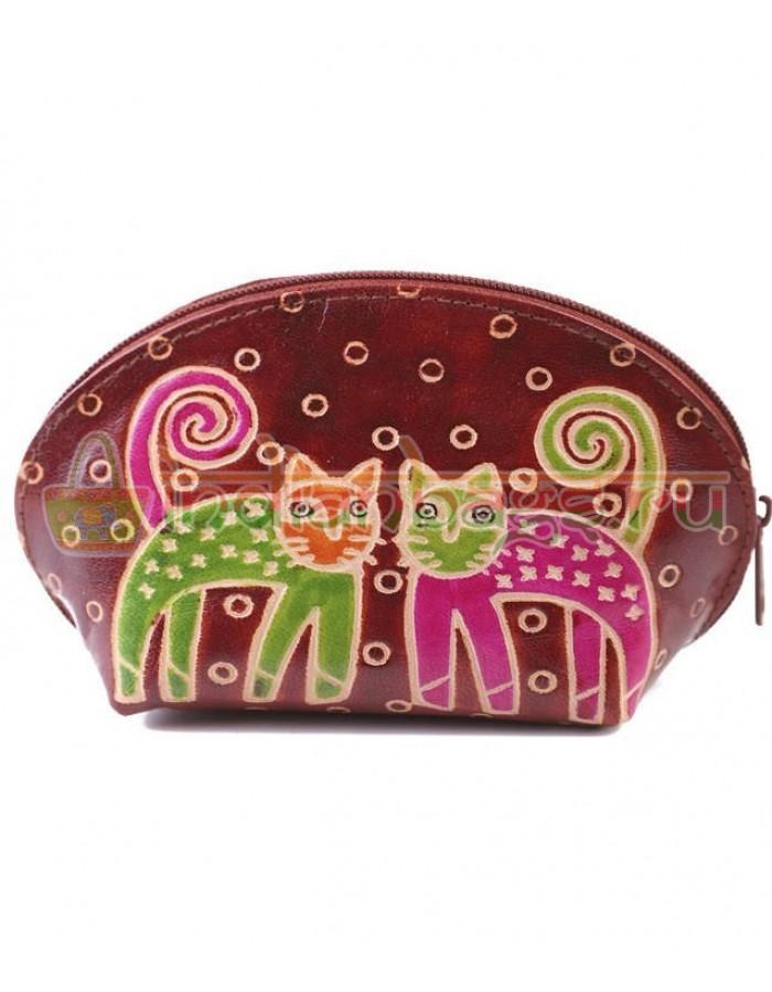 Купить женскую индийскую косметичку «2 кота» (коричневый) из натуральной кожи в интернет-магазине индийских сумок «IndianBags.ru»