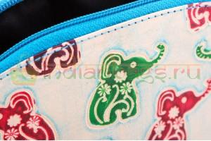 Индийская кожаная косметичка «Разноцветные слоны» 100% ручной работы