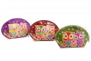 Купить женскую индийскую косметичку «Совиная семья» из натуральной кожи в интернет-магазине индийских сумок «IndianBags.ru»