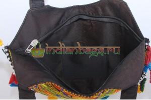 Индийская хлопковая этно сумка со слоном и вышивкой #625/3 вид внутри