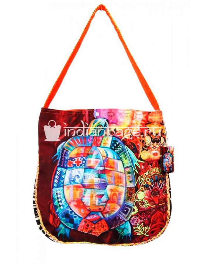 Купить индийскую пляжную хлопковую сумку с совами #АВ120 в интернет-магазине индийских сумок «IndianBags.ru»