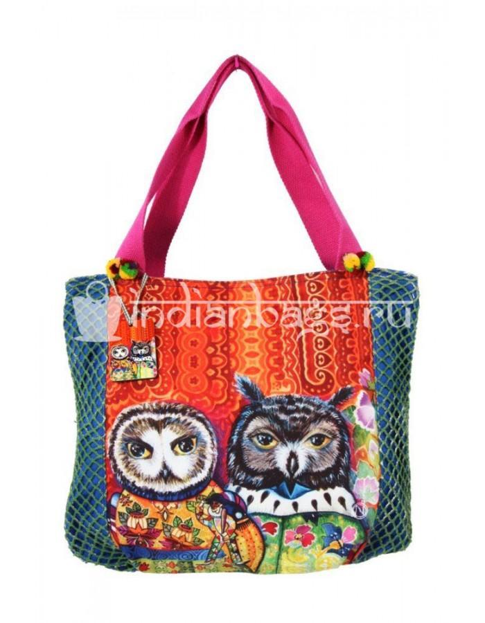 Купить индийскую пляжную хлопковую сумку с совами #АВ123 в интернет-магазине индийских сумок «IndianBags.ru»