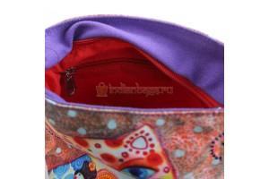 женская хлопковая индийская сумочка на ремешке #АВ4533  (вид внутри)
