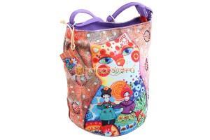 Индийская хлопковая сумочка с кошками #АВ4533