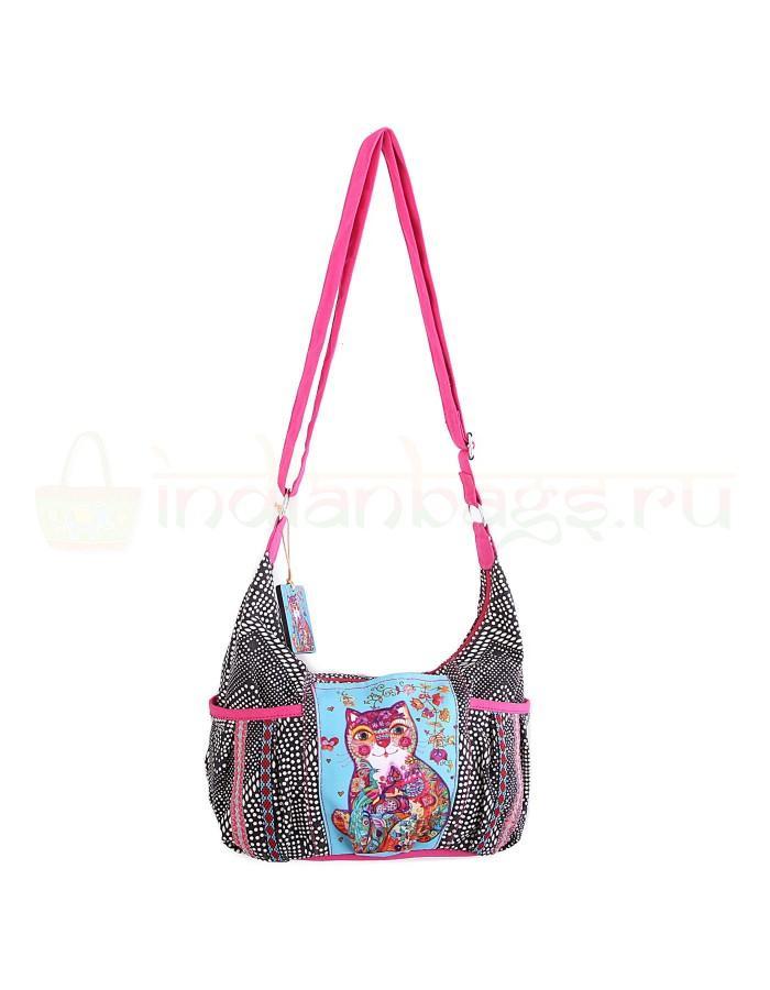 Купить индийскую текстильную сумку с котом #АВ4464 в интернет-магазине индийских сумок «IndianBags.ru»