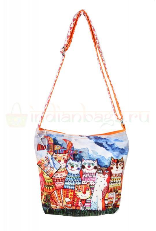 Индийская наплечная текстильная сумка #АВ127