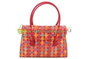 Купить женскую индийскую сумку с ручками красного цвета из натуральной кожи #1850/3 в интернет-магазине индийских сумок «IndianBags.ru»