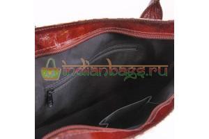 Индийская сумка #1832/1 из кожи теленка 100% вид изнутри