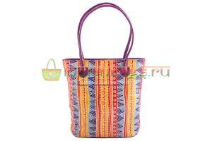 Индийская этническая сумка с паттерном из натуральной кожи #1247/18 вид сзади