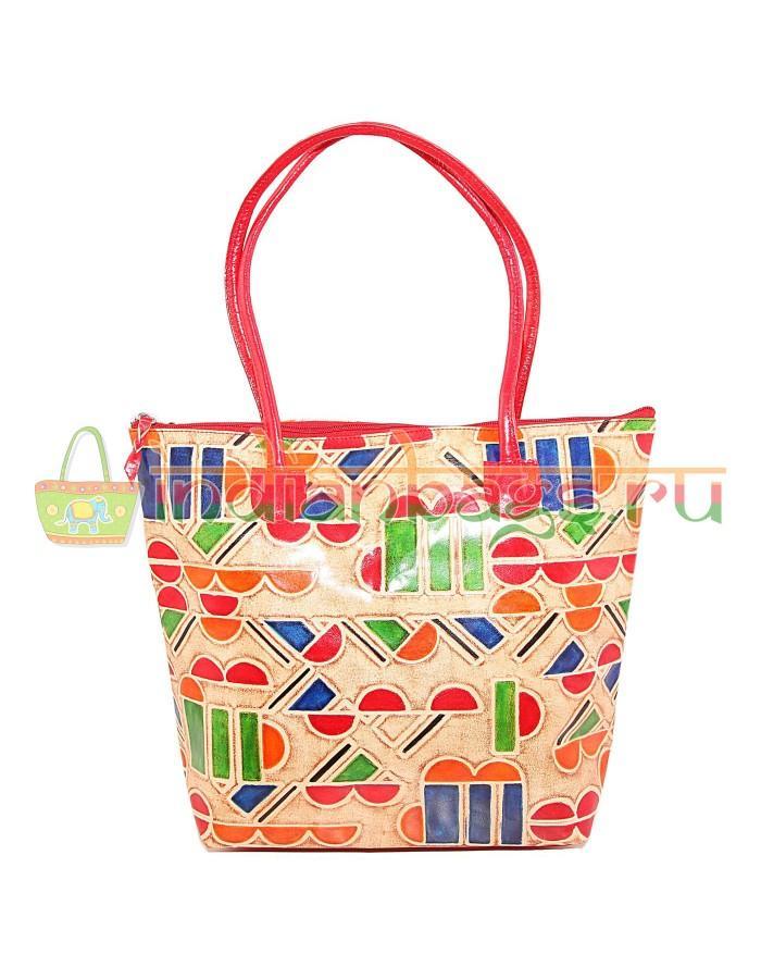 Купить индийскую этно сумку из натуральной кожи с геометрическим узором #1761/2 в интернет-магазине индийских сумок «IndianBags.ru»